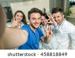 smiling team of doctors and... | Shutterstock . vector #458818849