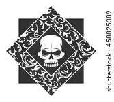 skull graffiti stencil with... | Shutterstock .eps vector #458825389