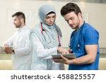 saudi arab doctors working with ...   Shutterstock . vector #458825557