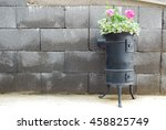 old used stove with summer...   Shutterstock . vector #458825749