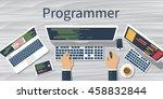 programmer at computer desk... | Shutterstock .eps vector #458832844
