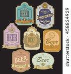 set of vector labels for beer...   Shutterstock .eps vector #458834929