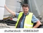 happy truck driver smiling at... | Shutterstock . vector #458836369