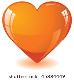 Glitter Orange Heart  Vector...