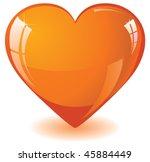 Glitter Orange Heart  Vector...