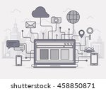 city network concept. line art...   Shutterstock .eps vector #458850871