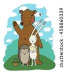 cute cartoon bear  hedgehog ... | Shutterstock .eps vector #458860339