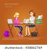 woman teacher tutor tutoring... | Shutterstock .eps vector #458862769