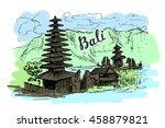 illustration of balinese temple ... | Shutterstock .eps vector #458879821