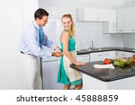 caring husband helping wife tie ... | Shutterstock . vector #45888859