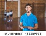 portrait of sports teacher... | Shutterstock . vector #458889985