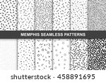 Collection of swatches memphis patterns - seamless. Fashion 80-90s. Black and white mosaic textures. | Shutterstock vector #458891695