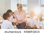 teacher teaching kids on... | Shutterstock . vector #458892814
