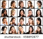 collection of women using... | Shutterstock . vector #458892877