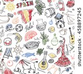 spain doodles seamless pattern... | Shutterstock .eps vector #458897245