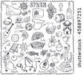spain doodles elements icon... | Shutterstock .eps vector #458897251