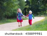 kids playing in autumn park.... | Shutterstock . vector #458899981