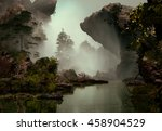 3d landscape illustration which ... | Shutterstock . vector #458904529