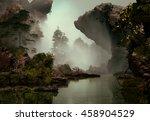 3d landscape illustration which ... | Shutterstock . vector #458904529