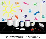 capacities with painting paint... | Shutterstock .eps vector #45890647