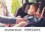 toddler girl buckled into her... | Shutterstock . vector #458922691