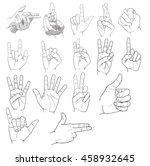 hand signal finger signs vector | Shutterstock .eps vector #458932645