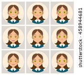 womens faces. womans face with... | Shutterstock .eps vector #458944681