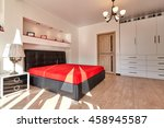 bedroom with a beautiful... | Shutterstock . vector #458945587