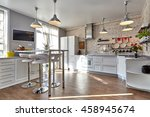 kitchen with appliances and a... | Shutterstock . vector #458945674