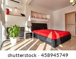 bedroom with a beautiful... | Shutterstock . vector #458945749