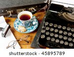 Old Typewriter With Glasses An...