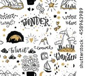 wonderful adventure pattern.... | Shutterstock .eps vector #458963989