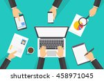 people working on the laptop in ...   Shutterstock .eps vector #458971045