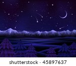 Night alpine scenery with evergreen firs