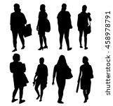 fashionable girls silhouette... | Shutterstock .eps vector #458978791