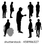city people silhouette set  ... | Shutterstock .eps vector #458986327