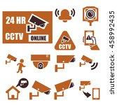 cctv icon set | Shutterstock .eps vector #458992435