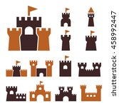 castle icon set | Shutterstock .eps vector #458992447