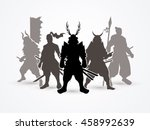 samurai warrior pose graphic... | Shutterstock .eps vector #458992639