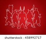 samurai warrior pose outline... | Shutterstock .eps vector #458992717