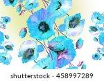 beautiful watercolor  poppies... | Shutterstock . vector #458997289