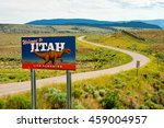 road sign along a highway near... | Shutterstock . vector #459004957
