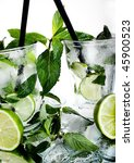 cocktail mojito with mint and white rum - stock photo