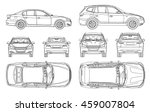 Stock vector car sedan and suv drawing outline 459007804