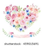 watercolor vintage floral piony ... | Shutterstock . vector #459015691
