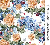watercolor pattern with rose... | Shutterstock . vector #459032671