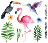 Watercolor Tropical Birds And...