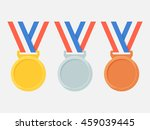 gold  silver and bronze medals... | Shutterstock .eps vector #459039445