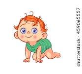 cute crawling little baby boy.... | Shutterstock .eps vector #459065557
