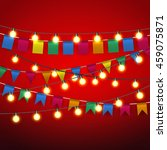 color pennant bunting and warm... | Shutterstock .eps vector #459075871